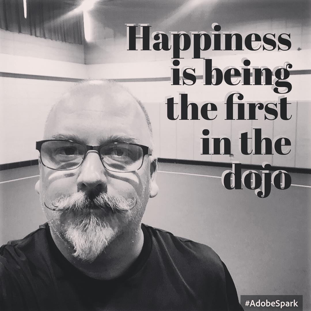 #Happiness is being the first person in the #dojo. #karate #kata #kihon #martialarts #blackbelt #goju #shorei #training #fun #kobudo #tonfa Wagner Center, Elmhurst Park District
