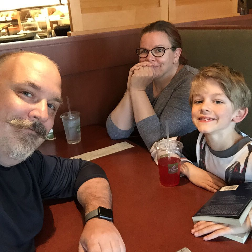 Dinner with the remaining child (the other is with G&G). Good times! #Happiness #dinner #family #soup #sandwich #panerabread @panerabread #selfie Panera Bread