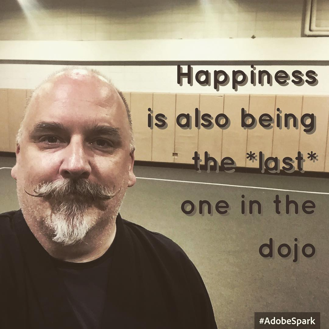 #Happiness is also being the last one in the dojo. . #karate #kobudo #martialarts #training #innerstrength #innerpeace #meditation . Beyond #30daysofkarate Naperville, Illinois