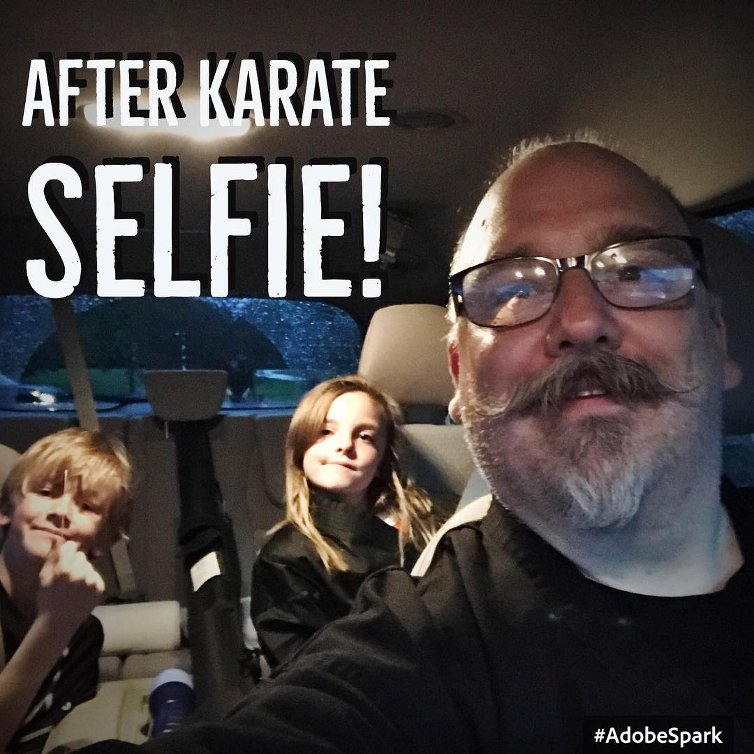 Post #karate #selfie – had the be of those days in the #dojo where everyone had a lot of positive #energy and #trained hard. The kids and I are heading home tired, hungry, and #happy. #prouddad #family #martialarts #training #exercise #bushido #kobudo