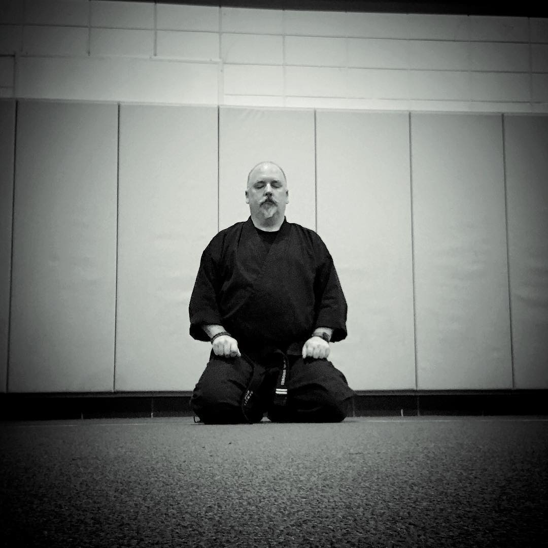 Post #karate cool down. Another night, another #dojo, another great class of young #karateka  I was able to get half an hour of #kata and #bunkai in before anyone else arrived and then some #kihon afterward, ending with some short #meditation – #innerpeace #martialarts #bushido #soulofjapan #goju #shorei