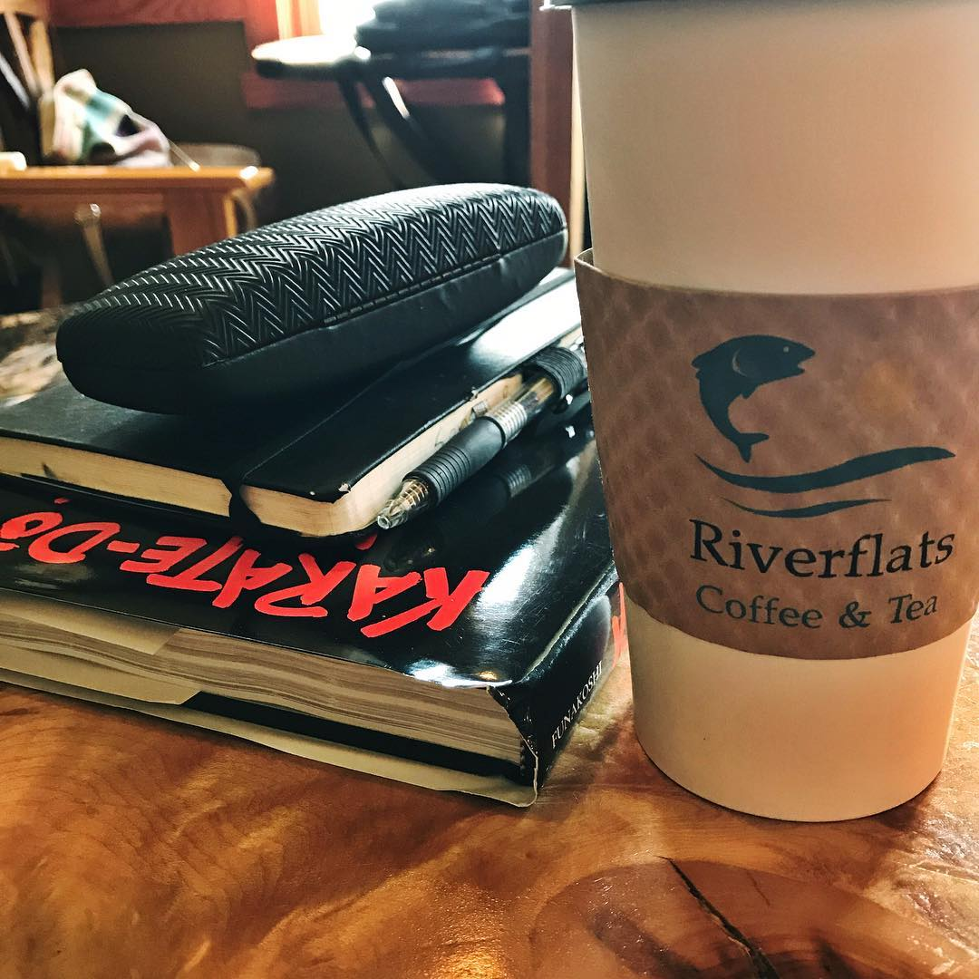 After our favorite #coffee shop closed in #Ludington we found a new one. #riverflatscoffeeandtea – great service, friendly staff, and tasty coffee. #americano #coffeeshop #puremichigan