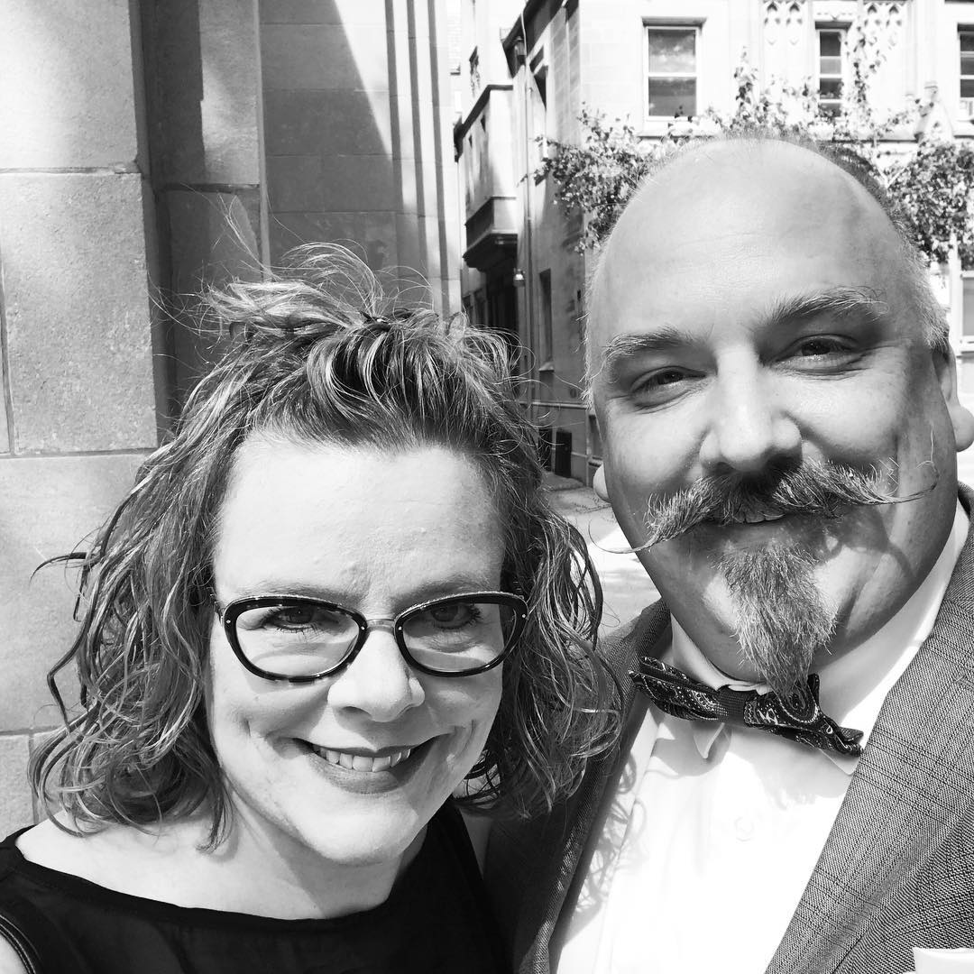 We're both dressed up and looking fine. Maybe dad is a little hip? Yeah, no. But at least my wife is cool enough for both of us. And now off to the #reception – #dadinthip #wedding #dapper #bowtie #cantdance #cigars #bourbon #celebration