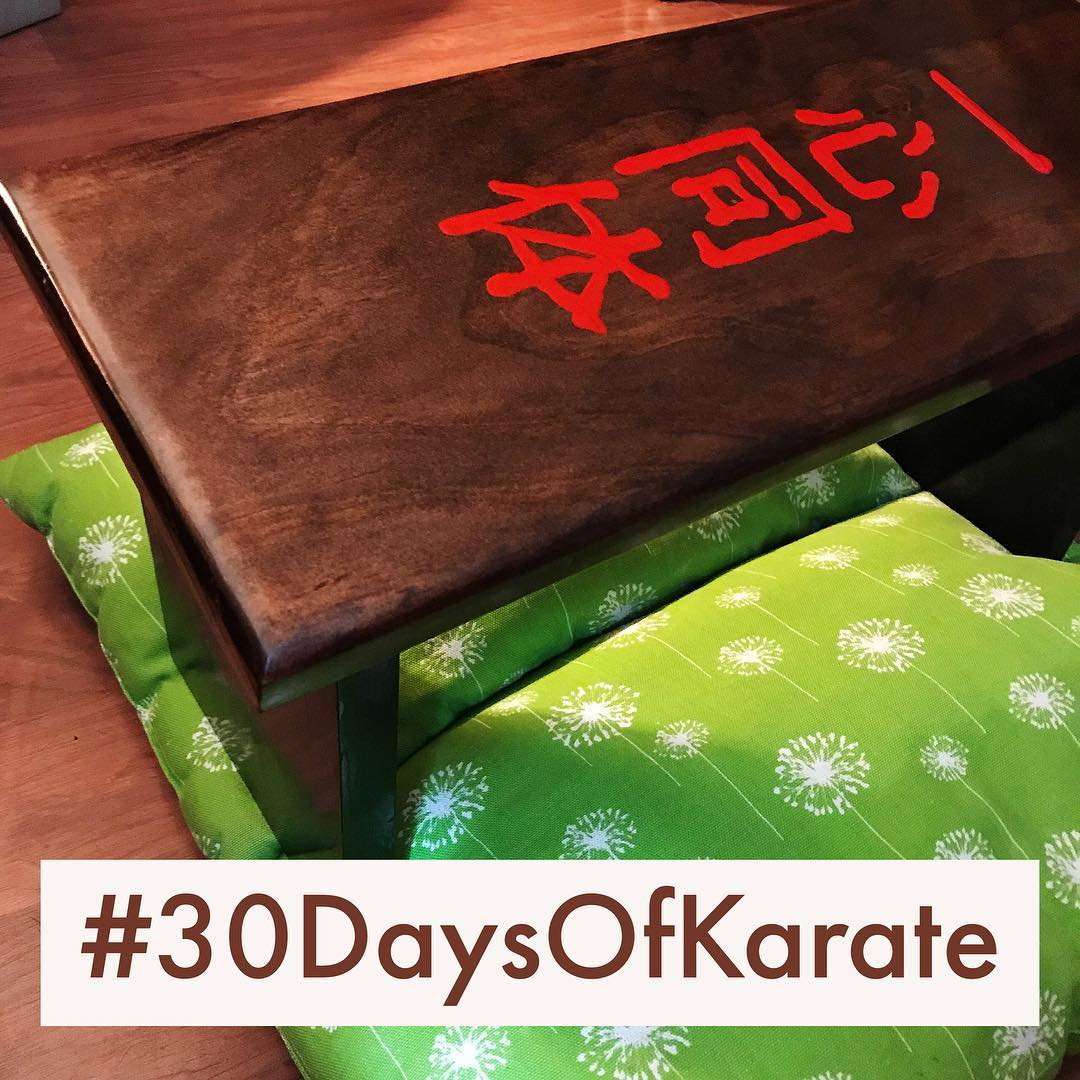 """After my last #30daysofkarate  #challenge , I had a #meditation #bench made. The Kanji is the same as on some of my #kobudo #weapons – #isshan #dotai. Translates to """"one in #body and #mind"""". #karate #budo #martialarts #meditate #peace #warrior #blackbelt #whitebelt"""