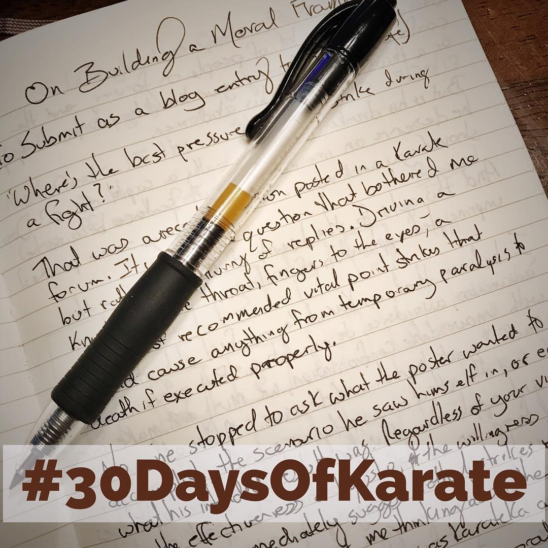 Day 4 of #30daysofkarate  Tonight was some #kata practice and then editing an article on the importance of developing a #moral #framework in #karate. And, of course, the obligatory #meditation which I'm doing every day of this challenge. #meditate #martialarts #bushido #budo #kobudo #pinan #heian @ando_mierzwa @karateculture @mish.mash.do @erickastengren @jay_the_sensational @jeremylesniak