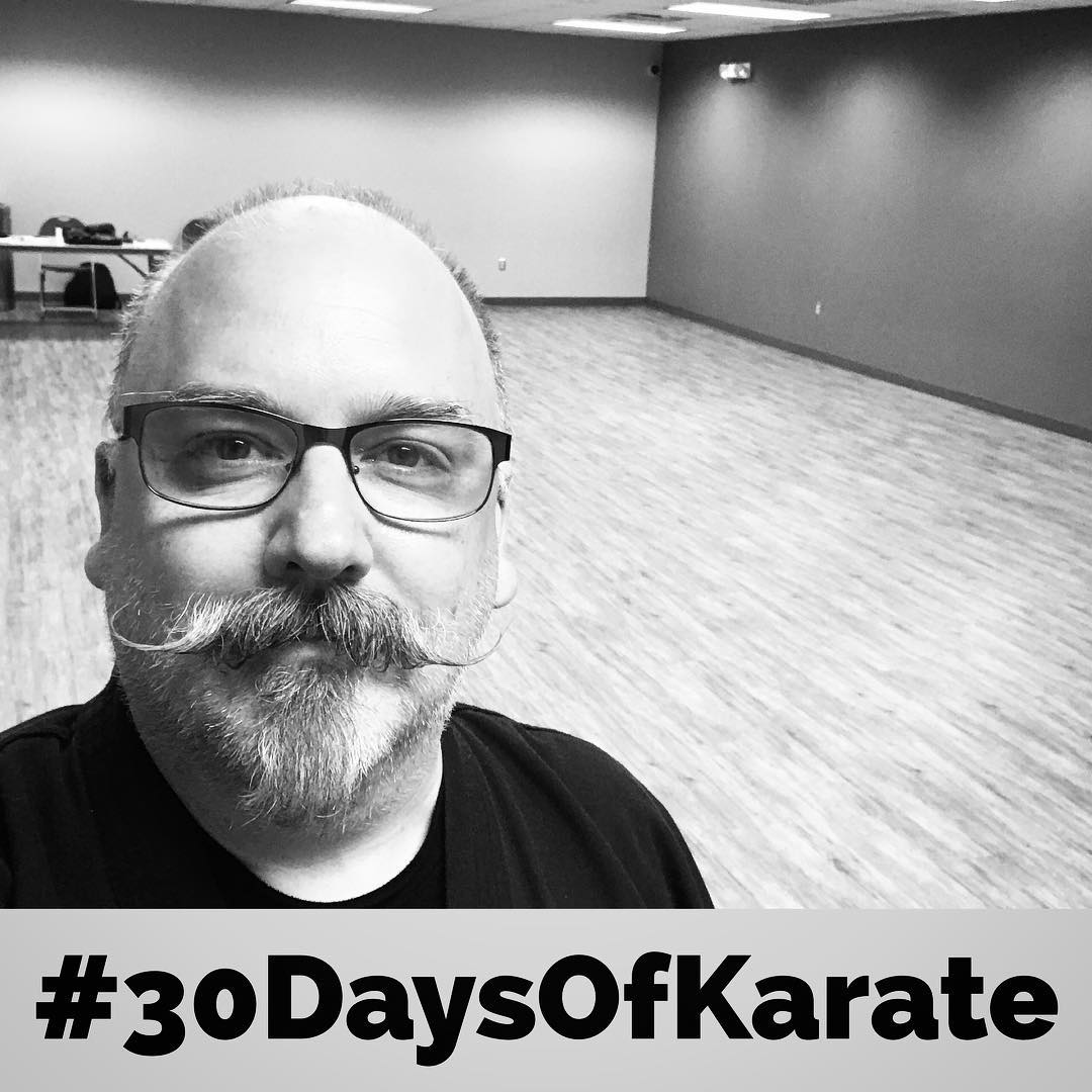 #30daysofkarate Day 19. After the #karateka all go home, I get to spend some #magical time by myself in the #dojo. If you've never been the last one to leave, you're truly missing out. And now it's #kata time! #karate #kobudo #martialarts #meditation #budo #bushido #training #bunkai #spirit #happyplace @ando_mierzwa @erickastengren @mish.mash.do @jay_the_sensational @jeremylesniak @karateculture