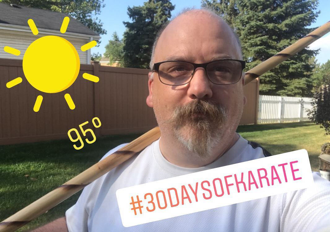 "#30daysofkarate and it's not supposed to be this hot!!! Taking the opportunity to sweat some weight off in the near 100 degree weather. Today is #kobudo with the #bo #tonfa #bokken and #nunchaku  Because it's obviously a great idea to swing weapons around while you're sweating profusely. 😂😂😂 On a completely unrelated note, a quick and focused strike to the elbow with the nunchaku will disable the person's arm for several minutes. ""Welcome back to the ER Mr. Domaschuk. Your usual room?"" #karate #meditation #bushido #budo #NoPain #martialarts #HealThyself @karateculture @erickastengren @mish.mash.do @jay_the_sensational @ando_mierzwa"