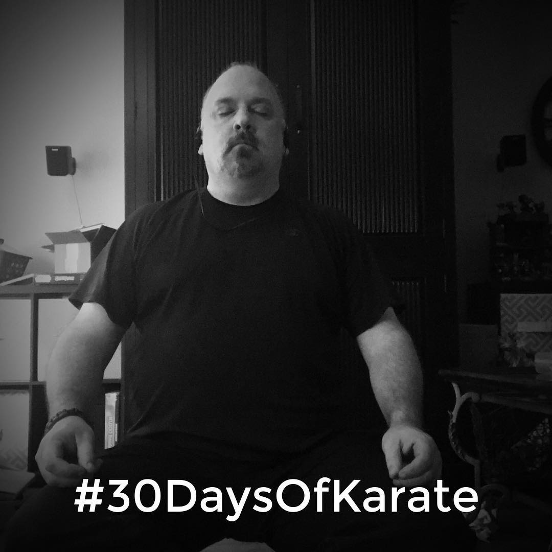 "And that's a wrap. Another #30daysofkarate in my life's rear view mirror. Ending this #challenge the same way it started – with #mindfulness #meditation and #kihon. There's both a challenge and a liberation in focusing on basics. #isshin #dotai ""one in #body and #mind"". Next challenge starting in… #karate #kobudo #bushido #budo #meditate #martialarts #training #innerstrength #innerpeace #character #friends @mish.mash.do @erickastengren @jay_the_sensational @jeremylesniak @karateculture @ando_mierzwa"