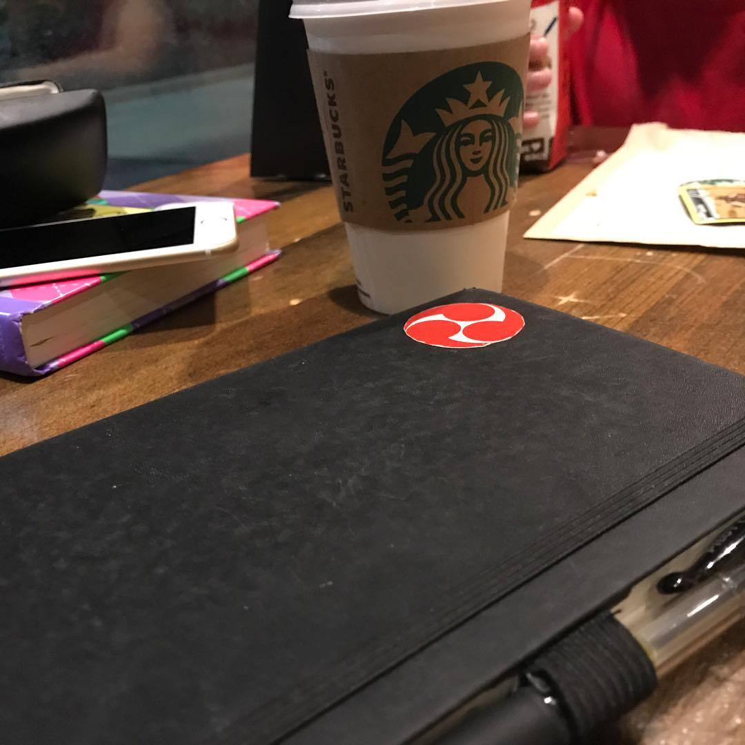 She's #reading and I'm #writing. #starbucks #karate #journal #moleskine #hidarigomon #martialarts #thoughts #bushido #budo #coffee