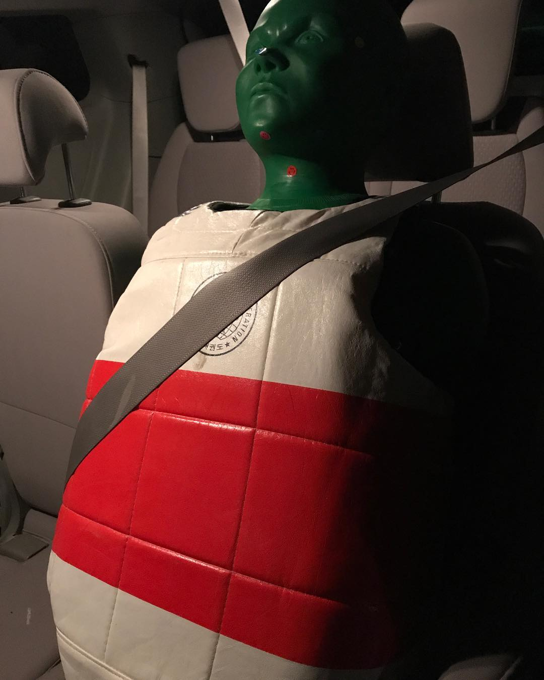 #karate #lifehack – buckle B.O.B. into a car seat so you can drive in the #carpool lane. #martialarts #humor #funny #lotd #picoftheday