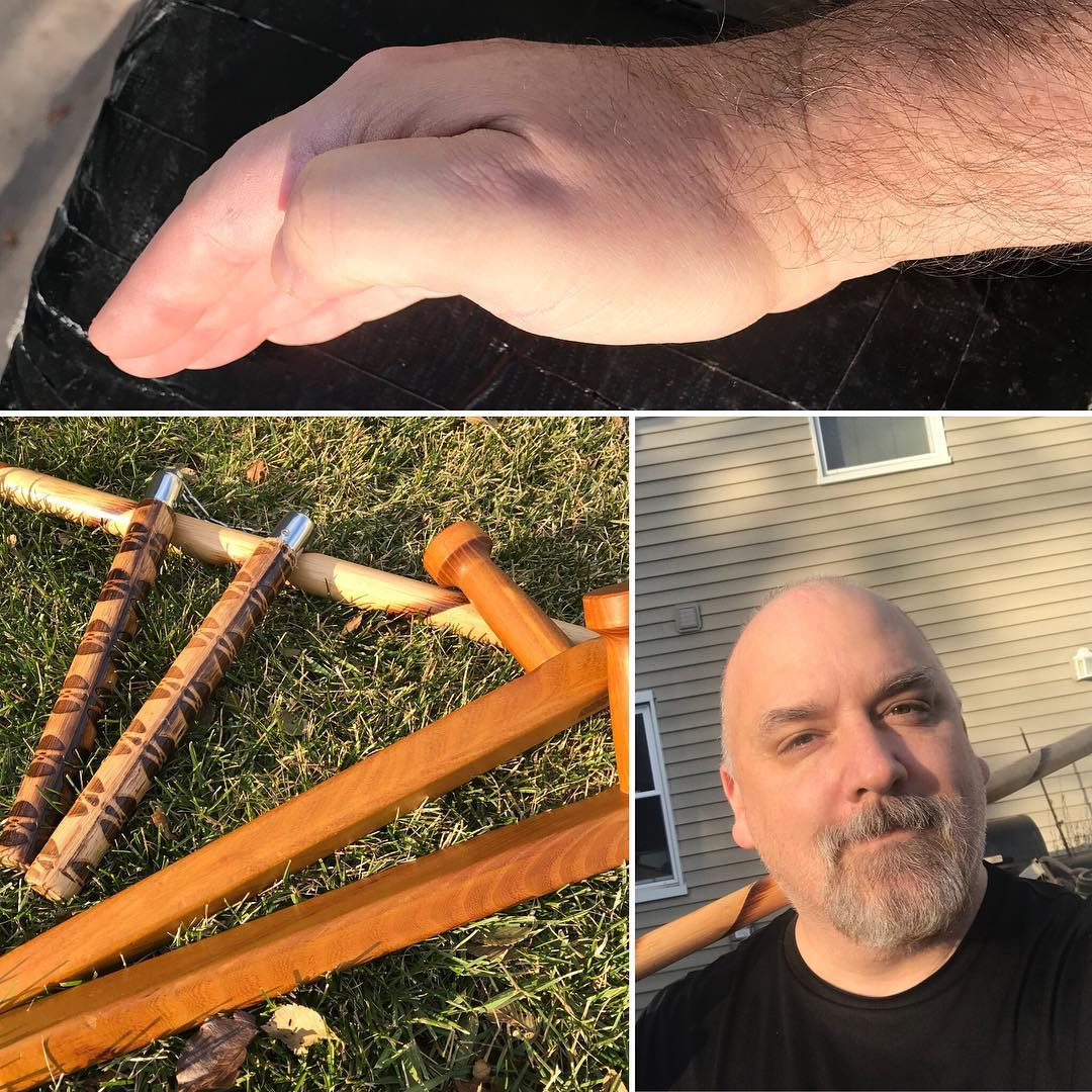 54 degrees on December 2? Yup, gotta grab the tools and head outside! #ironshotbag #tonfa #bo #nunchaku #kobudo #kata #karate #outdoordojo #martialarts #happyplace #training #obsessed #dedication #fuoldmanwinter