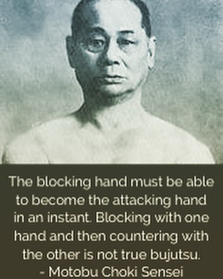 """The blocking hand must be able to become the attacking hand in an instant. #Blocking with one hand and then countering with the other is not true #bujutsu. Real bujutsu presses forward and blocks and counters in the same motion."" — I love this quote/translation from #Motobu #Choki #Sensei. I've been trying to #focus on practicing this concept whenever I can. #martialarts #karate #bushido #budo #training #gojushorei"