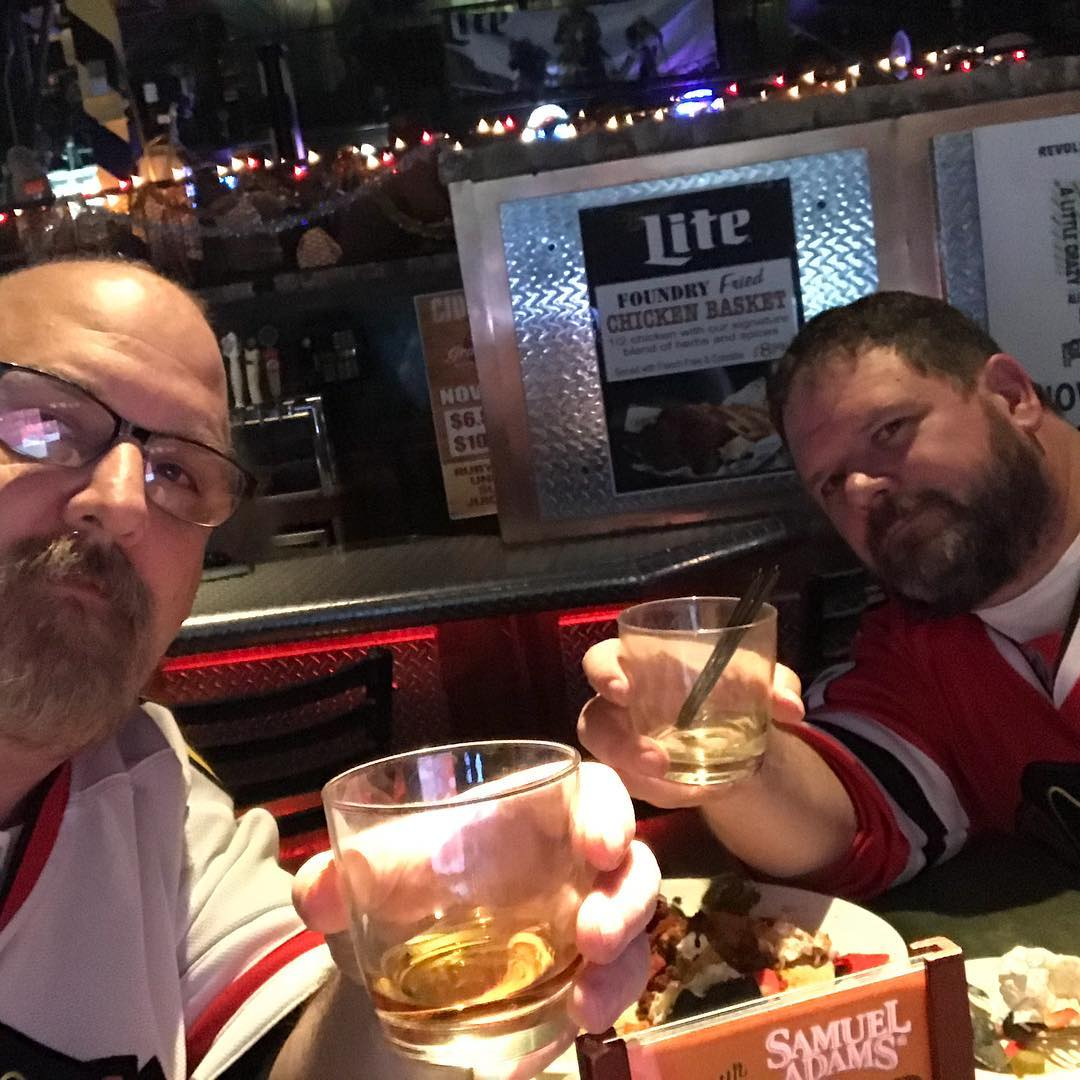 Hey @mish.mash.do – belated #happybirthday  @erickastengren and I are out celebrating your special day. No, really, and it has nothing to do with the #chicago #blackhawks game on the big screen!
