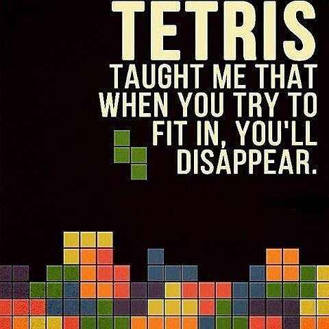 I have no idea who created this meme but I love it! #Tetris taught me that when you try to fit in, you'll disappear. #philosophy #innerstrength #innerpeace #truth #character #identity #karate #martialarts #meditation