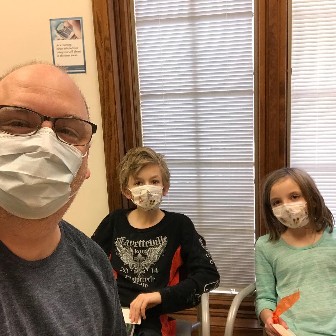 The family that gets the #flu together… yup, three out of four of us have the flu. If you haven't gotten your flu shot, please do so! We got ours and even though we still got sick, the severity of it is dramatically reduced because we got the #vaccine. #psa #healthy #doctorofficeselfie