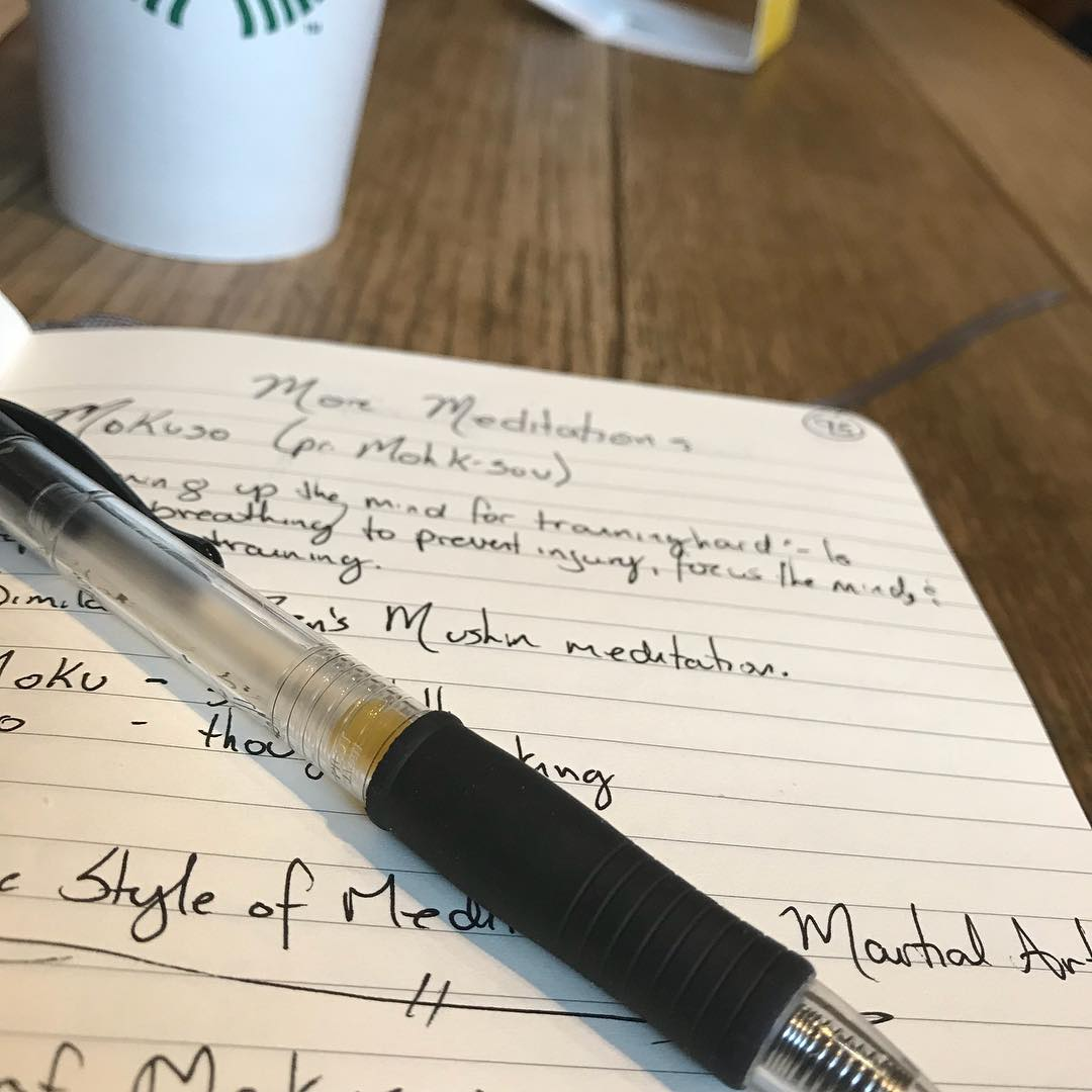 """The #flu sidelined me from being at the dojo this week. 😢 But I'm over it now and enjoying some time out of the house. So if I couldn't #train this week, I can still #write do here I am with coffee and a couple hours of """"me time"""". Writing about #meditation and, specifically, the practice of #Mokuso (""""silent thoughts""""). @erickastengren I think it's something that R might really benefit from. #innerpeace #tranquility #center #mindfulness #breathing #mushin #stressrelief #karate #martialarts #budo #bushido"""