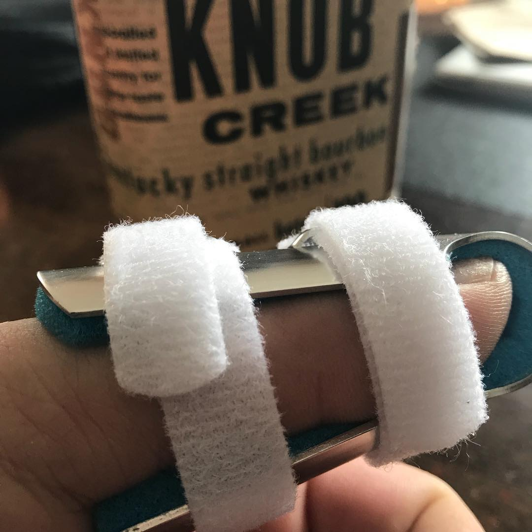 Woo hoo! Thumb is now in a proper splint and I have a fresh bottle of #bourbon. My hand is no longer looking like a lobster claw with all that tape. Let the real #healing begin. Also, time to shop for new #kali. #karate #kobudo #martialarts #training #injury #accident #ihaveninemorefingers